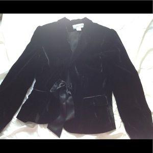 Calvin Klein black, velvet jacket with silk bow